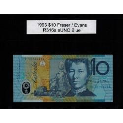 1993 $10 R316a Fraser / Evans General Prefix aUNC Polymer Australian Banknote