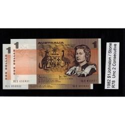 1982 $1 R78 Johnston / Stone General Prefix Unc 2 Consecutive Paper Australian Banknote