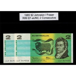 1985 $2 R89 Johnston / Fraser General Prefix EF-aUNC 2 Consecutive Paper Australian Banknote