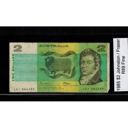 1985 $2 R89 Johnston / Fraser General Prefix Fine Paper Australian Banknote