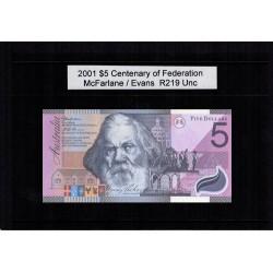 2001 $5 R219 McFarlane / Evans Centenary of Federation General Prefix UNC Australian Banknote