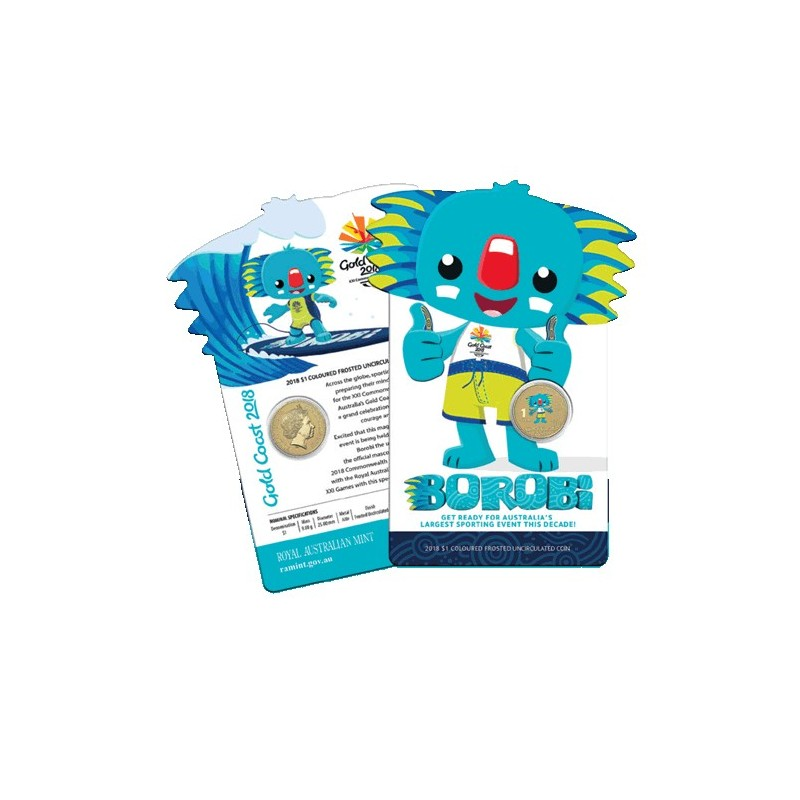 2018 $1 XXI Commonwealth Games - Borobi Coloured Frosted Unc Coin in Card