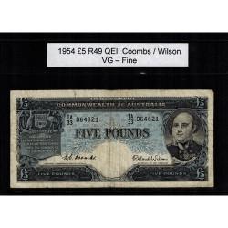 1954 Five Pound R49 Coombs / Wilson General Prefix VG - Fine Paper Australian Banknote