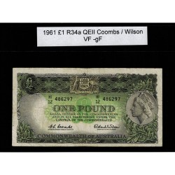 1961 One Pound R34a Coombs / Wilson General Prefix VF-GF Paper Australian Banknote