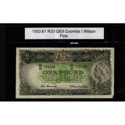 1953 One Pound R33 Coombs / Wilson General Prefix Fine Paper Australian Banknote