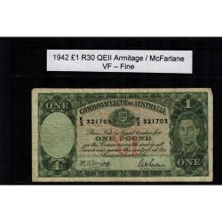 1942 One Pound R30 Armitage / McFarlane General Prefix VF - Fine Paper Australian Banknote