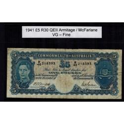 1941 Five Pound R30 Armitage / McFarlane General Prefix VF - Fine Paper Australian Banknote
