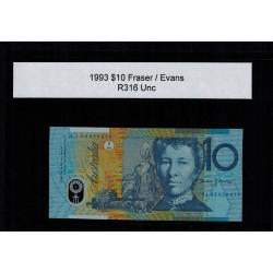 1993 $10 R316a Fraser / Evans General Prefix Uncirculated Polymer Australian Banknote