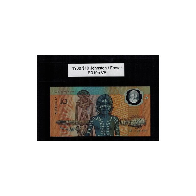 1988 $10 R310b Johnston / Fraser General Prefix VF Polymer Australian Banknote