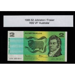 1985 $2 R89 Johnston / Fraser General Prefix VF Paper Australian Banknote