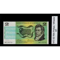 1972 $2 R84 Phillips / Wheeler General Prefix EF Paper Australian Banknote