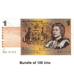 1982 $1 R78 Johnston / Stone General Prefix Bundle 100 x Unc Paper Australian Banknote