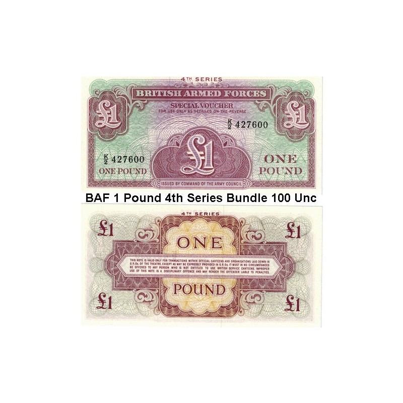 British Armed Forces 1 Pound 4th Series Bundle 100 Uncirculated Banknotes