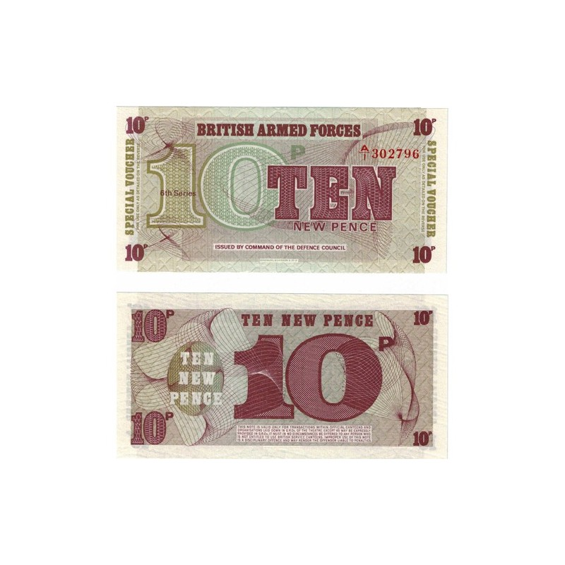 British Armed Forces 10 New Pence Uncirculated Banknote