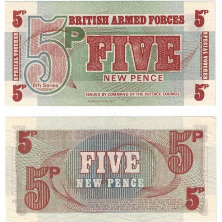British Armed Forces 5 New Pence Uncirculated Banknote