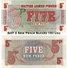 British Armed Forces 5 New Pence Bundle 100 Uncirculated Banknotes