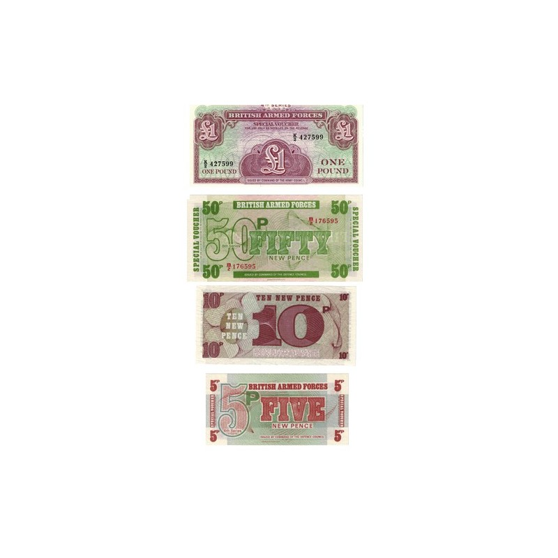 British Armed Forces Set of 4 Uncirculated Banknotes