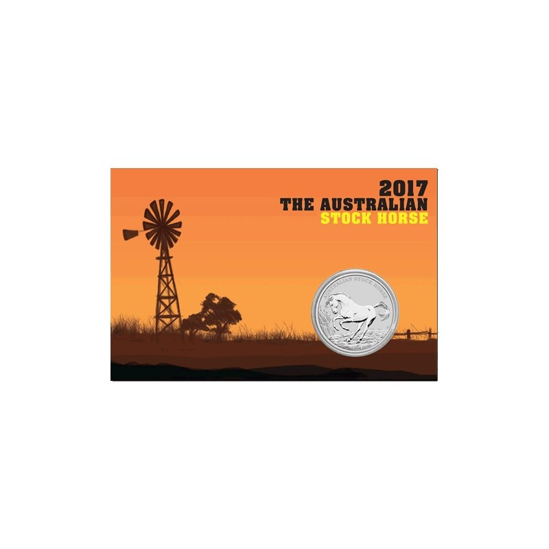 2017 $1 Australian Stock Horse 1oz Silver BU Coin in Card