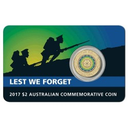 2017 $2 Lest We Forget Uncirculated Coloured Coin in Card