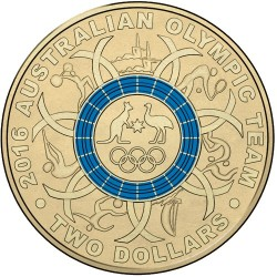2016 $2 Australian Olympic Team Program Blue Coloured Uncirculated Coin