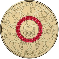 2016 $2 Australian Olympic Team Program Red Coloured Uncirculated Coin