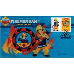 2017 Fireman Sam - Saving the Day Limited Edition Coloured Medallion Cover PNC