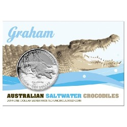 2014 $1 Australian Saltwater Crocodiles - Graham 1oz Silver Frunc Coin in Card