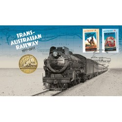 2017 $1 100th Anniversary Trans-Australian Railway Perth Mint Coin & Stamp Cover PNC