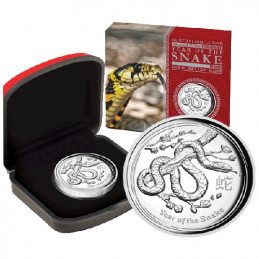 2013 $1 Lunar Year of the Snake High Relief 1oz Silver Proof Coin