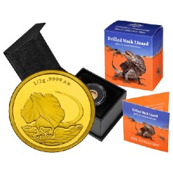 2013 $2 Frilled Neck Lizard 0.5gm Gold Proof Coin