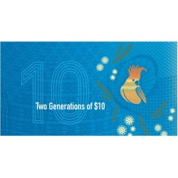 2017 $10 RBA Folder Two Generations Unc Pair of Banknotes