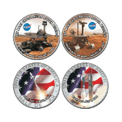 2004 USA Mission to Mars 2 Coin Coloured Half Dollars in Presentation Box