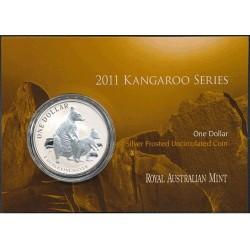 2011 $1 Australian Kangaroo 1oz Silver Frunc Coin in Card