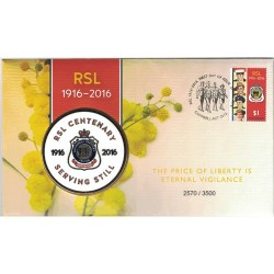 2016 RSL Centenary 1916 - 2016 Limited Edition Medallion Cover PNC