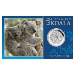 2013 10c Australian Koala 1/10th Oz Silver Bullion Bullion Coin in Card