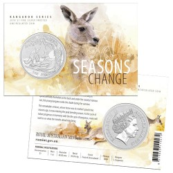 2018 $1 Kangaroo Series - Seasons Change Summer 1oz Silver Frosted Coin in Card