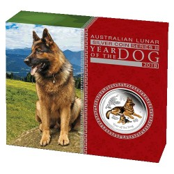 2018 $1 Australian Lunar Year of the Dog 1oz Silver Proof Coloured Edition Coin
