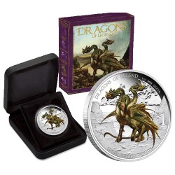 2012 $1 Dragons of Legend - Three-Headed Dragon 1oz Silver Proof Coin