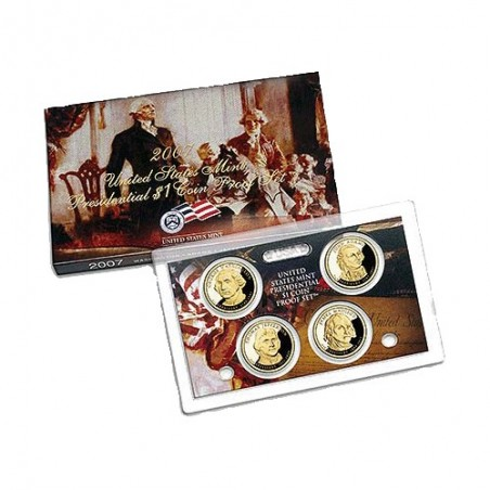 2007 $1 USA Presidential Dollar Proof Set 4 Coins