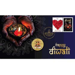 2017 $1 Diwali Festival Coin & Stamp Cover PNC