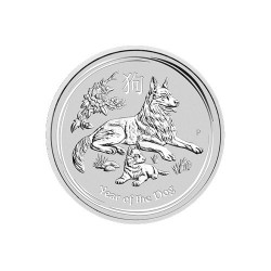 2018 $1 Australian Lunar Year of the Dog 1oz Silver Bullion Coin in Capsule