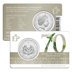 2017 50c 70th Anniversary Royal Wedding Uncirculated Coin in Card