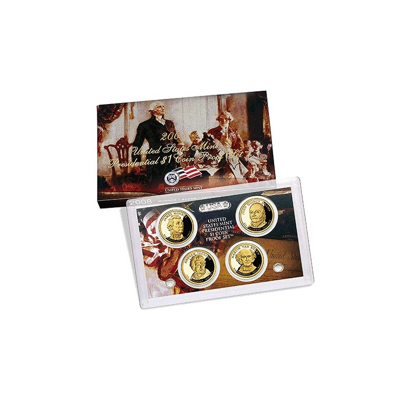 2008 $1 USA Presidential Dollar Proof Set 4 Coins - Marked