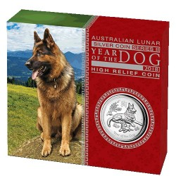 2018 $1 Australian Lunar Year of the Dog 1oz Silver High Relief Proof Coin