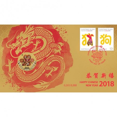 2018 $1 Happy Chinese New Year Coin & Stamp Cover PNC