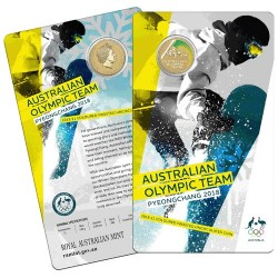 2018 $1 Australian Olympic Team Pyeongchang Coloured Frosted Uncirculated Coin