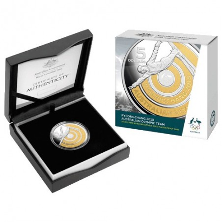 2018 $5 Australian Olympic Team Pyeongchang Selectively Gold Plated Silver Proof Coin