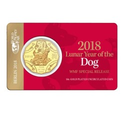 2018 50c WMF Year of the Dog Tetra Decagon Gold Plated Uncirculated Coin in Card