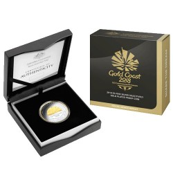 2018 $5 XXI Commonwealth Games Fine Silver Selectively Gold Plated Proof Coin