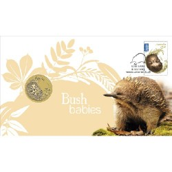 2013 $1 Australian Bush Babies II Echidna Coin & Stamp Cover PNC